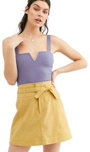 Free People Suede Leather Mini Skirt Yellow