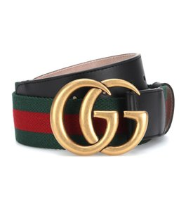 Gucci NEW Gucci Double G Marmont Green Red Web Belt Gold 90 cm