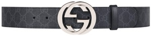 Gucci NEW Gucci Interlocking GG Belt Supreme Grey Black 85 CM