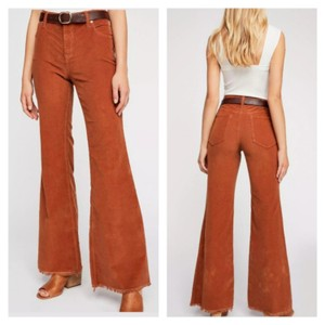 Free People Vintage Style Bell Stretch Corduroy Super Flare Pants Brown