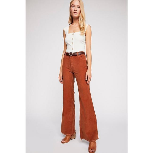 Free People Vintage Style Bell Stretch Corduroy Super Flare Pants Brown Image 1