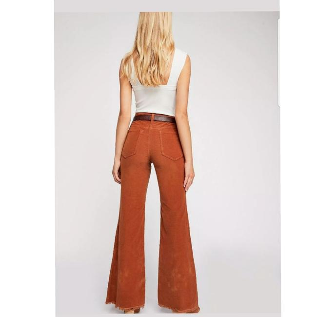 Free People Vintage Style Bell Stretch Corduroy Super Flare Pants Brown Image 2