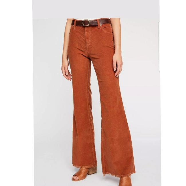 Free People Vintage Style Bell Stretch Corduroy Super Flare Pants Brown Image 3