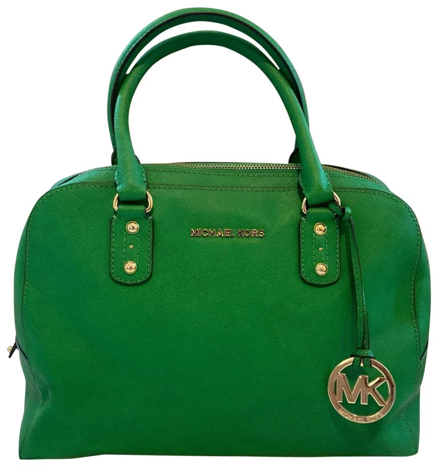 Michael Kors Bowling Bag Kelly Green Leather Satchel 64 Off Retail