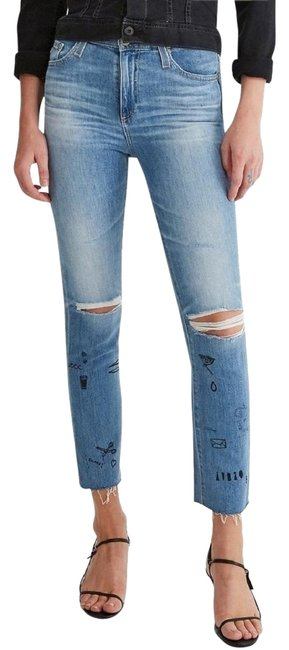 Item - 13 Years Blanda Distressed Isabelle Painted Limited Raw Hem Boyfriend Cut Jeans Size 25 (2, XS)
