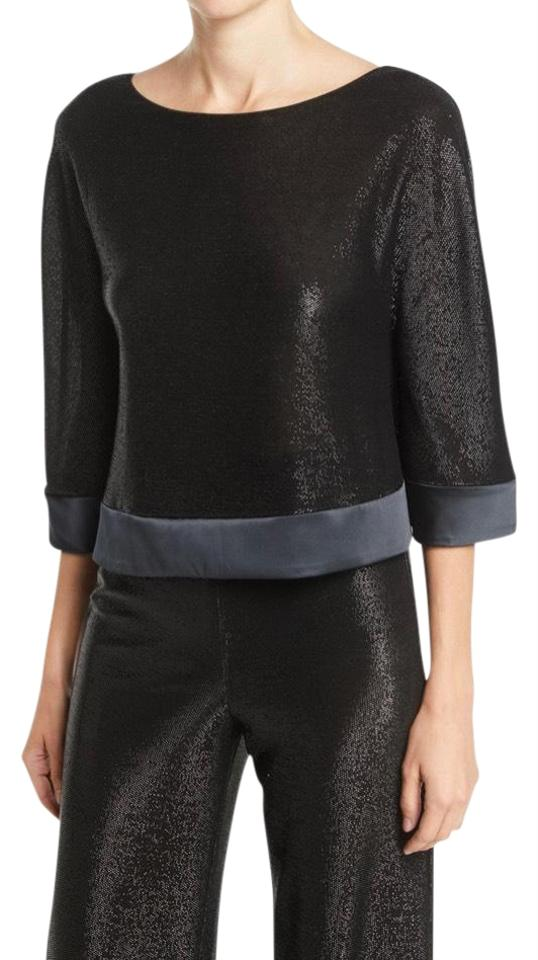 prix limité images détaillées qualité et quantité assurées Emporio Armani Black Easy High-waist Wide-leg Metallic-mesh Pull-on &  Scoop-neck 3/4-sleeve Metallic-mesh Top Pant Suit Size 10 (M) 67% off retail