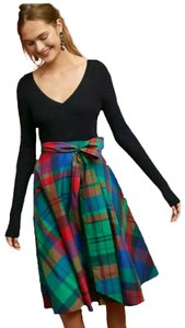 Anthropologie Holiday Party Plaid Skirt Red, Blue, Green