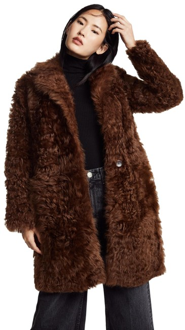 Item - Brown Reversible Genuine Shearling Coat Size 8 (M)