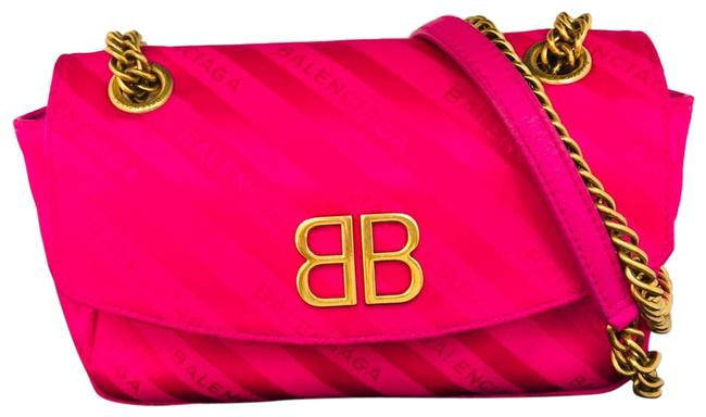 Item - Shoulder Jacquard Bb Round S Rose Magenta Pink Satin Cross Body Bag