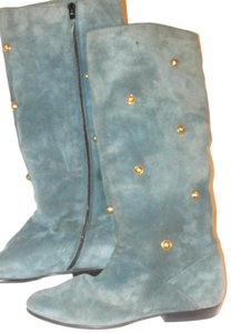 """Salvatore Ferragamo Almond Toe/.5"""" Wedge Teal Suede/Gold Engraved Studs Rare Excellent Condition light blue suede/gold Boots"""
