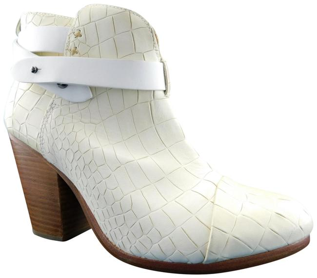 Item - Ivory Croc Print Leather Strapped Block-heel Ankle Boots/Booties Size EU 40 (Approx. US 10) Regular (M, B)