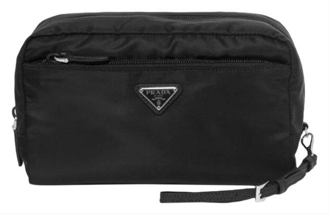 Item - Black Logo Appliqued Shell Up Pouch Cosmetic Bag
