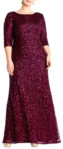Adrianna Papell Beaded Sequin Scoop Back 3/4 Sleeves Dress