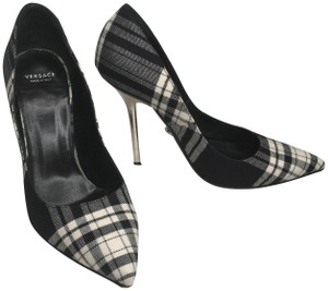 Versace Plaid Mirror Pattern Black and White Pumps
