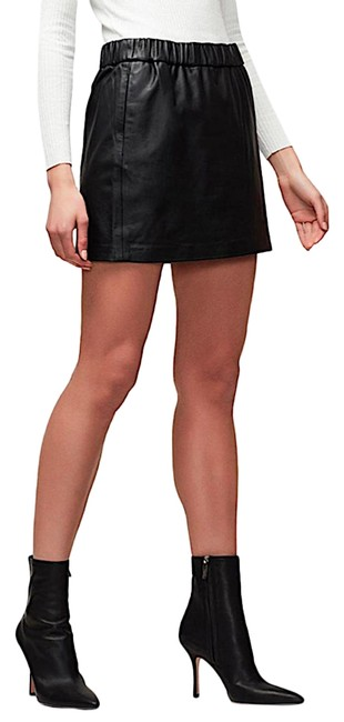 Item - Black with Tag Women's Pull On Leather Mini Skirt Size 4 (S, 27)