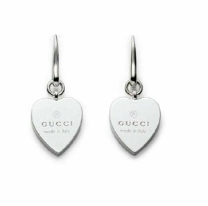 Gucci GUCCI Made In Italy Sterling Silver Trademark Heart Earrings