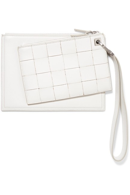 Bottega Veneta Intrecciato White Leather Clutch Bottega Veneta Intrecciato White Leather Clutch Image 1