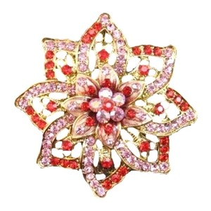 Other Red and Pink crystal flower brooch pin goldtone metal