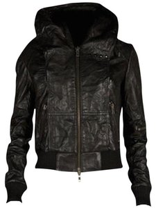 AllSaints Motorcycle Biker Hooded Bomber Leather Jacket