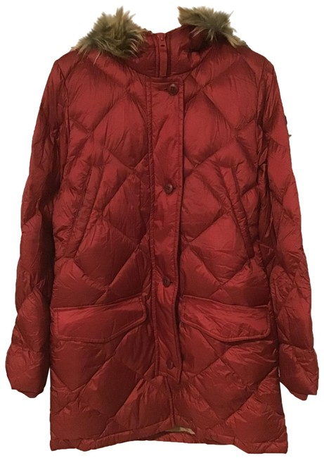 Item - Red Down Feather Puffer Fur Hood Coat Size 8 (M)