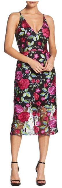 Item - Magenta Multi Black Womens S Aurora Floral Midi Embroidered Mid-length Cocktail Dress Size 4 (S)