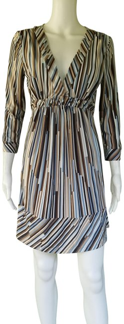 Item - Blue Brown Bcbg Max Azria Striped Tie Back Small S Short Casual Dress Size 4 (S)