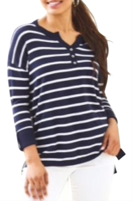 Item - Faraway Striped Henley Coolmax Navy Sweater