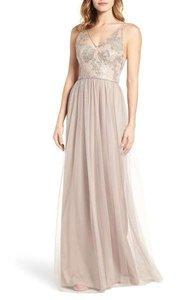 Amsale Latte Tulle / Sequin Gb016 Feminine Bridesmaid/Mob Dress Size 8 (M)