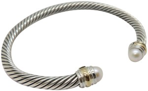 David Yurman 5mm cable bracelet with gold trim Medium size