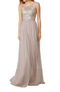 Amsale Navy Tulle / Sequin Gb041 / Dayna Formal Bridesmaid/Mob Dress Size 14 (L)