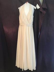 White by Vera Wang Champagne Chiffon W Halter W/ Tulle Bow Vw360418 Formal Bridesmaid/Mob Dress Size 12 (L)
