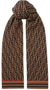 Fendi NEW FENDI ZUCCA FOREVER LOGO CASHMERE WOOL KNIT SCARF WRAP NWT - item med img