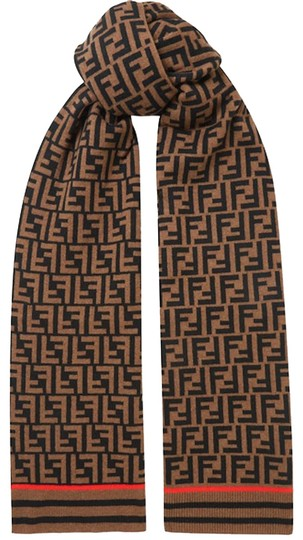 Preload https://img-static.tradesy.com/item/25986661/fendi-brown-black-new-zucca-forever-logo-cashmere-wool-knit-scarfwrap-0-3-540-540.jpg