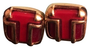 Tory Burch enamel Red and god Studs