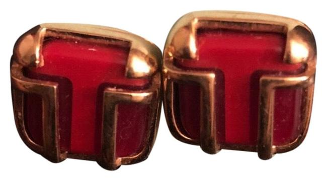 Item - Red/Gold Enamel and God Studs Earrings