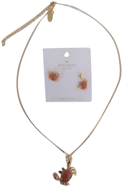 Item - Orange New Pave Crab Necklace & Earrings