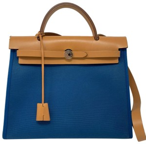 Hermès Tote in Blue Izmir/ Natural