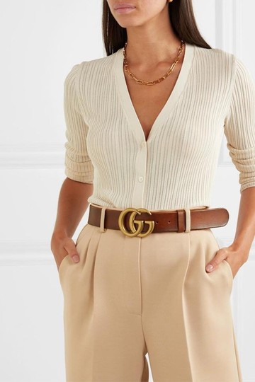 Gucci NEW GUCCI BROWN LEATHER GG GOLD BELT THICK NEW 95 Image 1