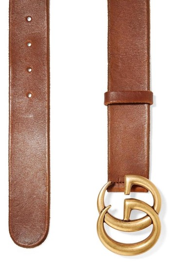 Gucci NEW GUCCI BROWN LEATHER GG GOLD BELT THICK NEW 95 Image 9