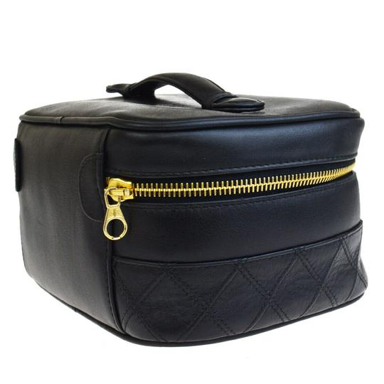 Chanel Authentic CHANEL Vanity Cosmetics Hand Bag Leather Black Italy Vintage Image 1