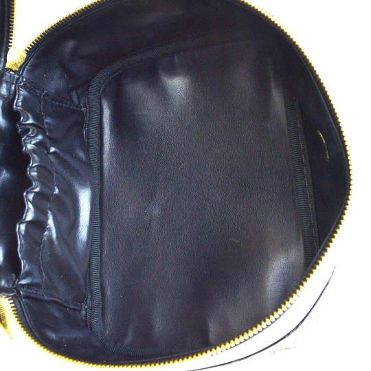 Chanel Authentic CHANEL Vanity Cosmetics Hand Bag Leather Black Italy Vintage Image 10