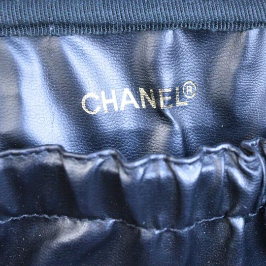 Chanel Authentic CHANEL Vanity Cosmetics Hand Bag Leather Black Italy Vintage Image 11