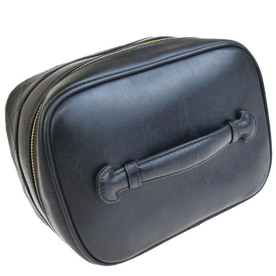Chanel Authentic CHANEL Vanity Cosmetics Hand Bag Leather Black Italy Vintage Image 2