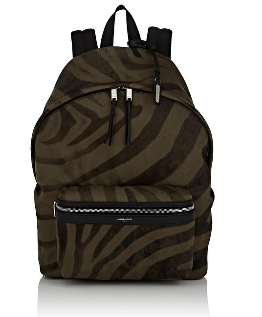 Item - City Tiger-striped Leather Trimmed Dark Green Canvas Backpack