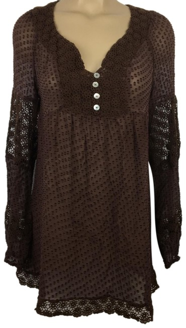 Daniel Rainn Brown Sheer Blouse Size 10 (M) Daniel Rainn Brown Sheer Blouse Size 10 (M) Image 1