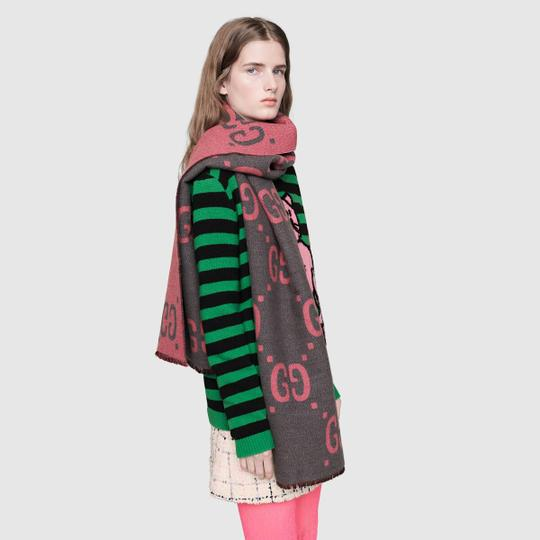 Gucci NEW GUCCI LOGO GG WOOL REVERSIBLE SCARF WRAP NWT Image 2