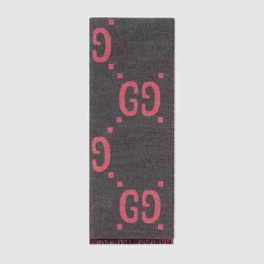 Gucci NEW GUCCI LOGO GG WOOL REVERSIBLE SCARF WRAP NWT Image 3