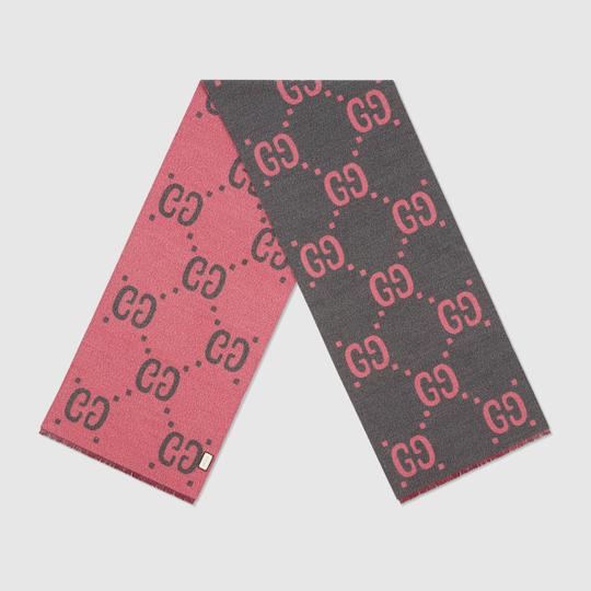 Gucci NEW GUCCI LOGO GG WOOL REVERSIBLE SCARF WRAP NWT Image 8