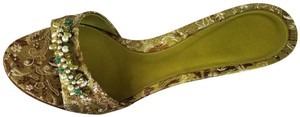 Talbots Brocade Kitten Heels Beaded Green Mules