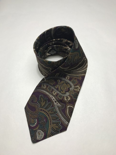 Item - Purple and Gold With Yellow/Gold Floral Print All Silk Vintage Tie/Bowtie